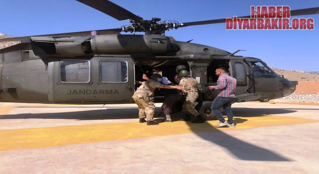 Akrep Sokan Kadını Helikopterle Hastaneye Ulaştırıldı